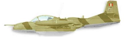 Avión Cazabombardero Ligero Subsónico de ataque Cessna Modelo 318E A-37B Dragonfly. Con su esquema táctico en arena y marrón terroso.