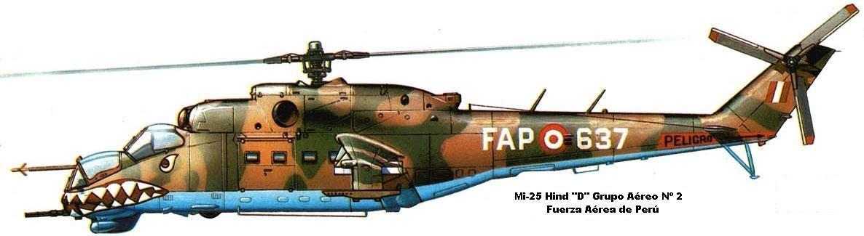Mi-25 Hind D peruano con su esquema táctico mimético