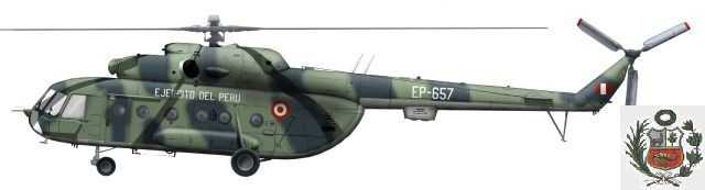 Helic�ptero tipo Mil Mi-8T Hip de la Aviaci�n del Ej�rcito del Per�