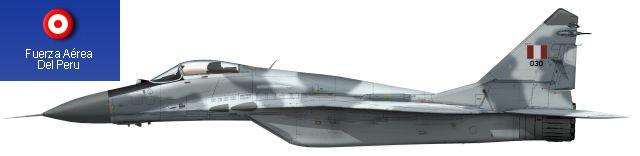 MiG-29S peruano con su esquema t�ctico mim�tico mostrando los colores y forma del camuflaje, de tonos azulados.