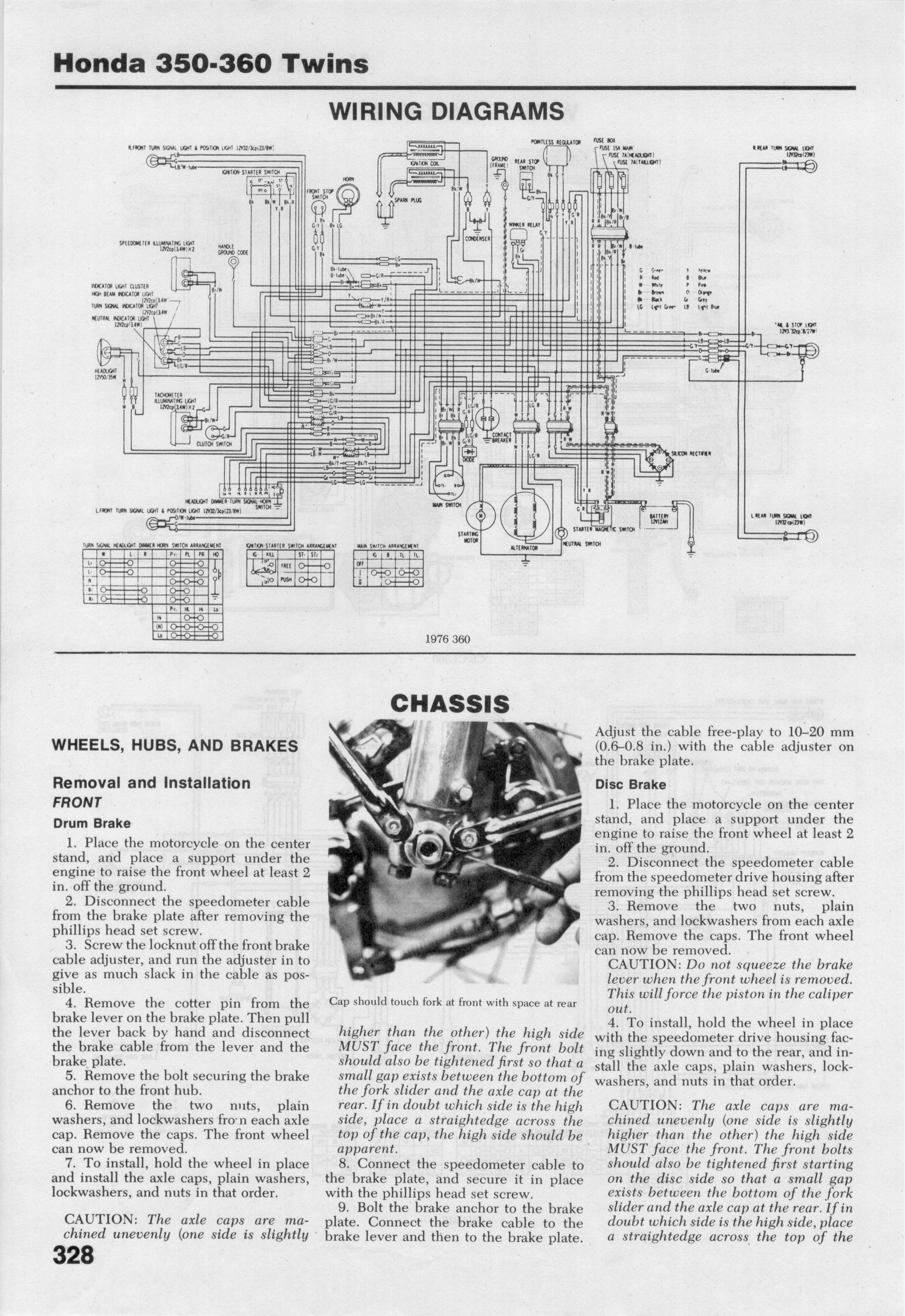 Honda Cb Cl 350 Microfiche Cl360 Wiring Diagram 1976 360 Chasis
