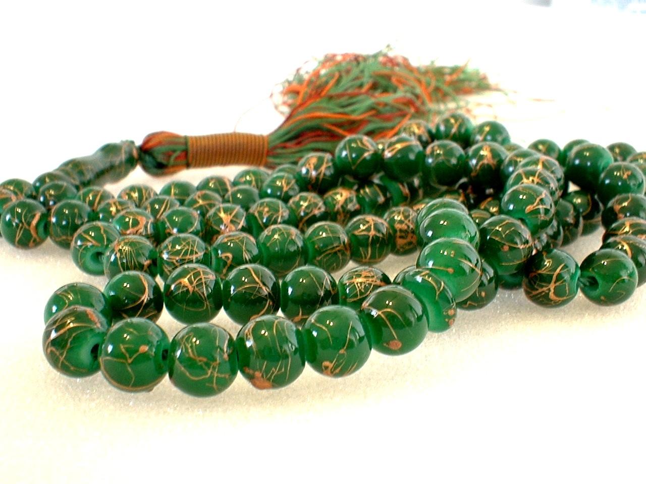 golden jade glass muslim prayer beads 99