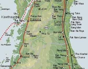 [Der Isthmos von Kra. Rot gepunktet: Die Staatsgrenze zwischen Thailand und Myanmar/Barm#257;]
