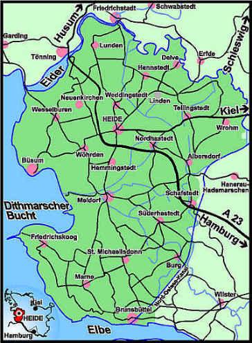 [Karte von Dithmarschen: oben die Eider, unten der Kaiser-Wilhelm-Kanal - heute Nordostsee-Kanal]